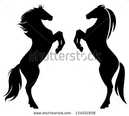 450x403 Rearing Up Horse Fine Vector Silhouette And Outline