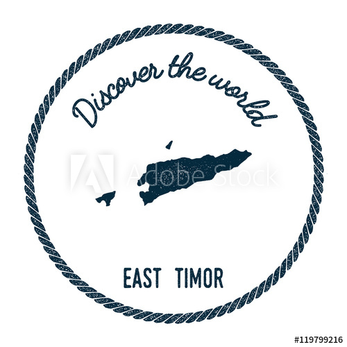 500x500 Vintage Discover The World Rubber Stamp With Timor Leste Map