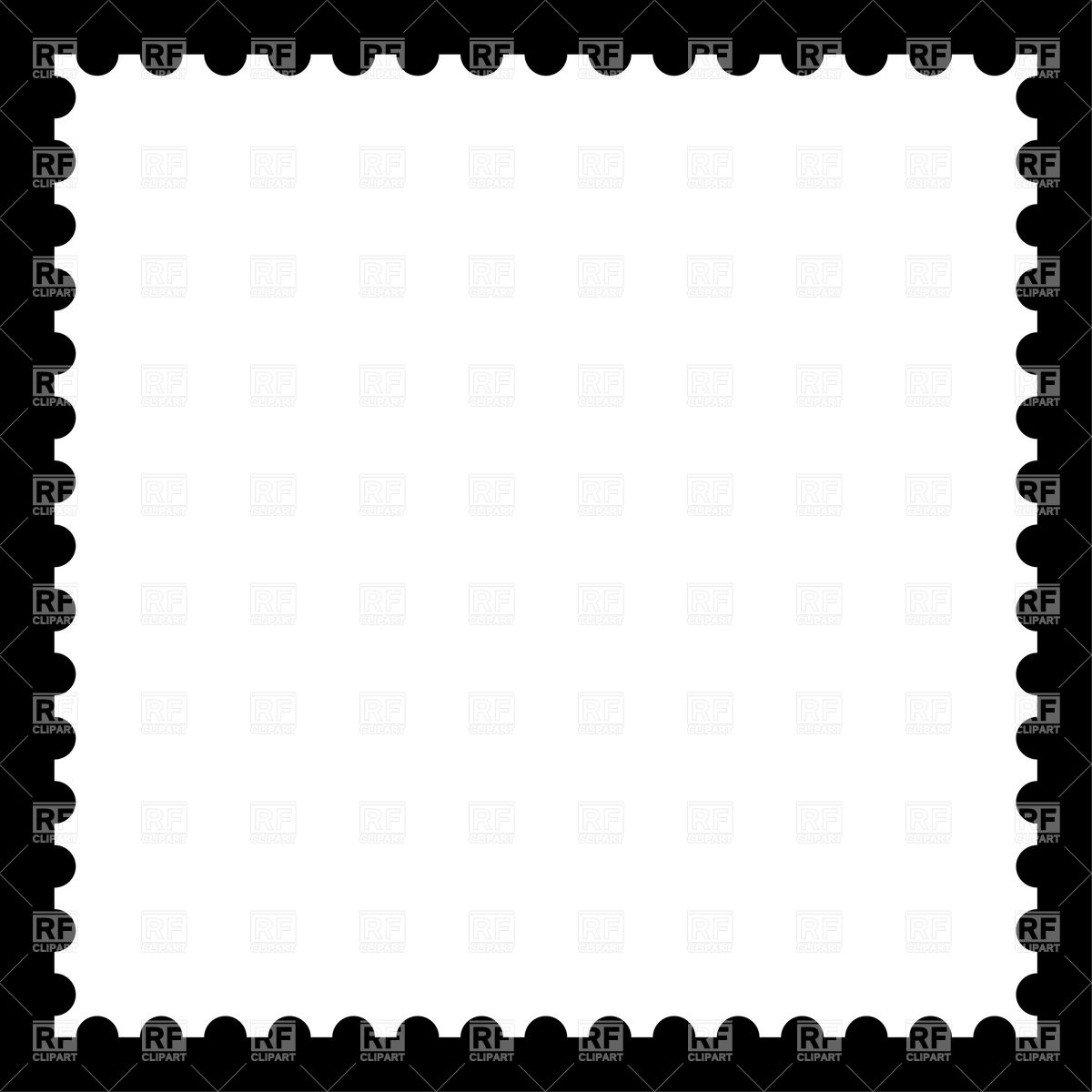 1200x1200 White Blank Postage Stamp On Black Vector Image Vector Artwork