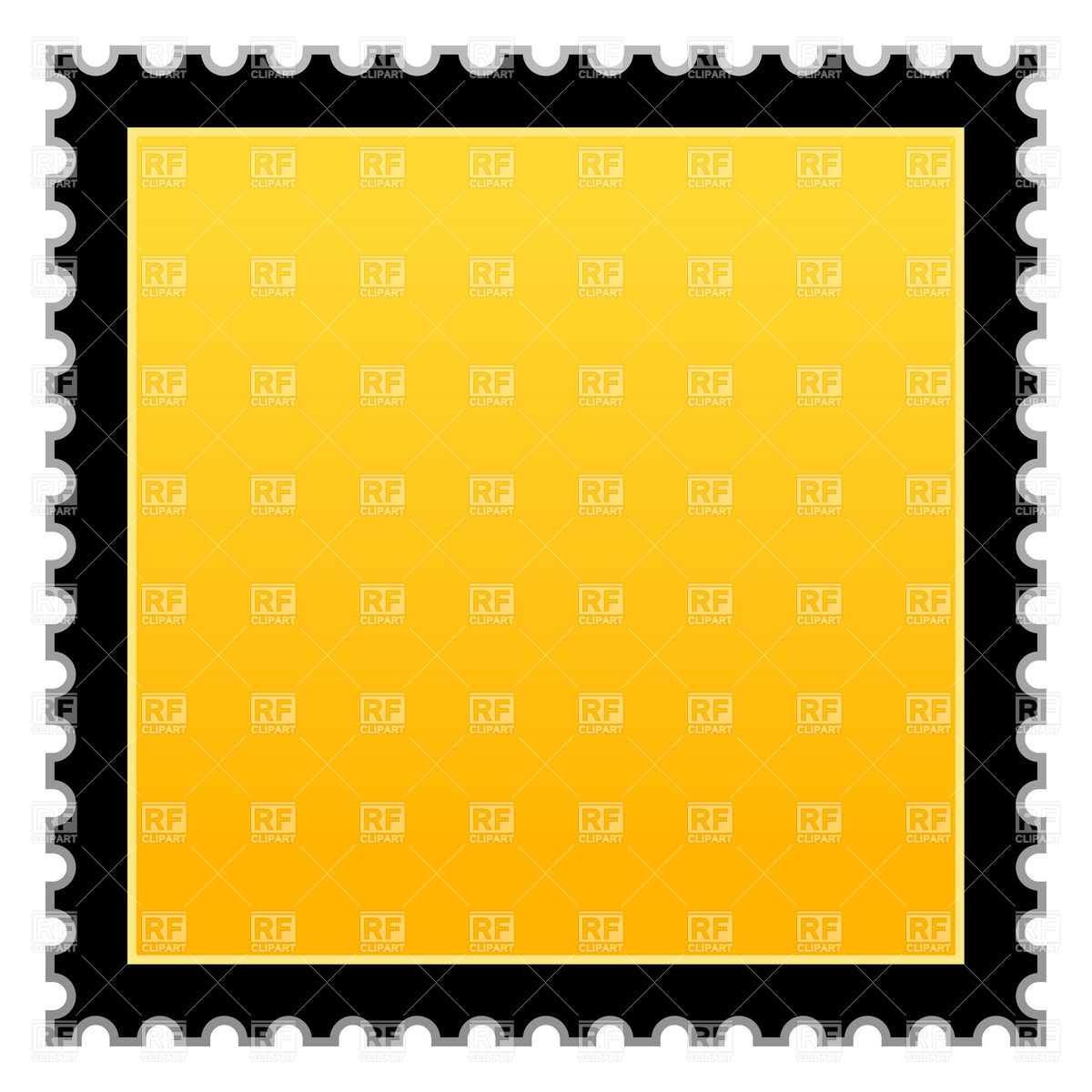 1200x1200 Yellow Postage Stamp With Black Border Vector Image Vector