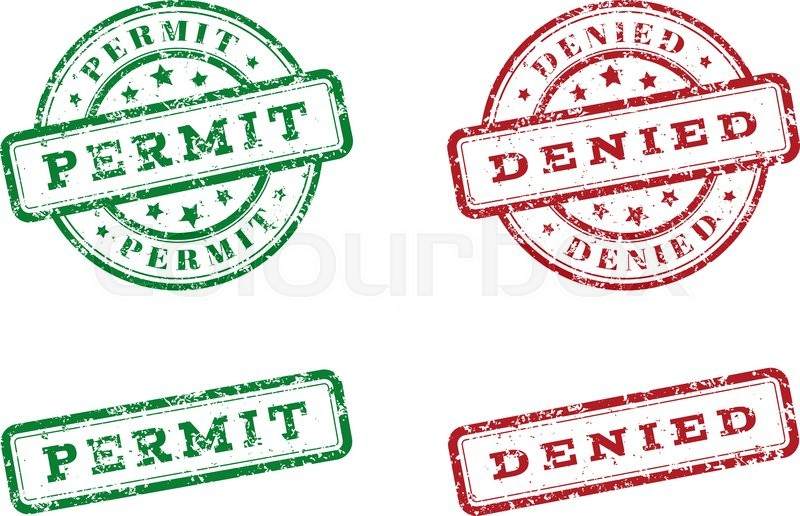 800x516 Green Permit Logo Stamp And Red Denied Logo Stamp. Grunge Style On