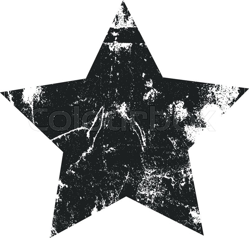 800x765 Grunge Star Silhouette Vector Illustration. Rubber Stamp Texture