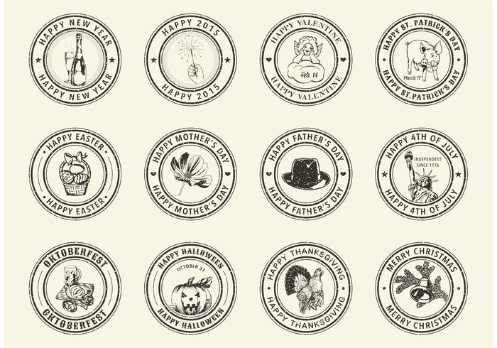 700x490 Free Holiday Rubber Stamps Vector