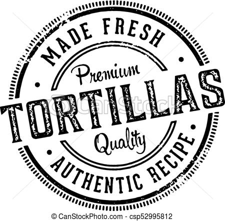 450x442 Fresh Made Tortillas Stamp. Vintage Stamp For Mexican Restaurant
