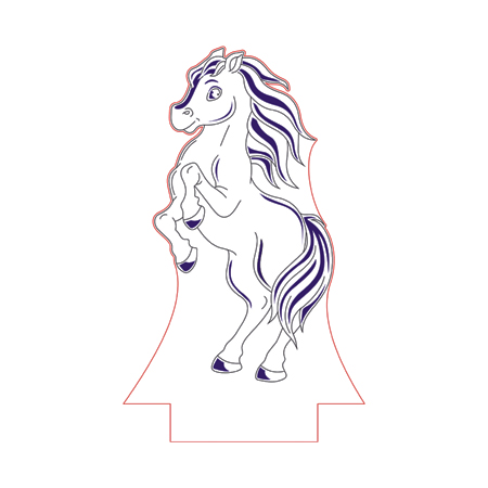 450x450 Standing Horse 3d Illusion Lamp Plan Vector File Op For Cnc