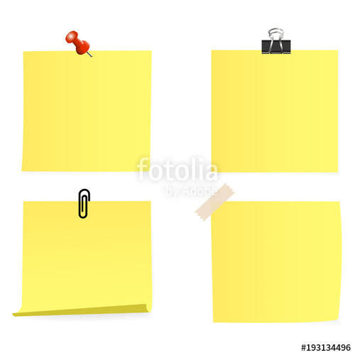 500x500 Clear List Of Color Paper With Pin, Sticky Tape, Staple On A White