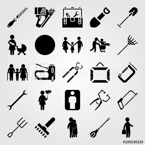 500x500 Tools Icon Set Vector. Father, Businessman, Staple Gun And Child