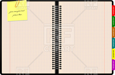 400x261 Open Notepad With Pink Paper And Staple Vector Image Vector