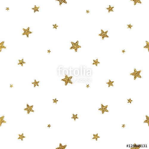 500x500 Grunge Seamless Pattern Of Gold Glitter Stars On White Background