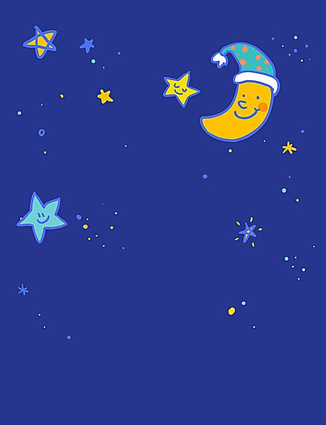 650x849 Vector Childrens Cartoon Mother Moon And Stars Night Background
