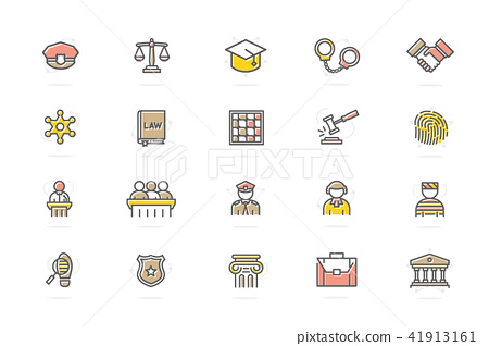 450x318 Set Of Vector Crime, Law, Police And Justice Colored Line Icons