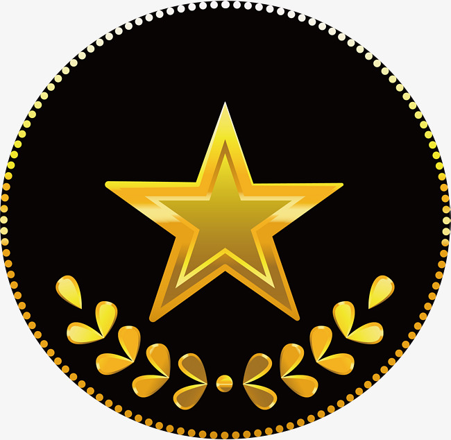 650x634 Embossed Five Pointed Star Badge, Star Clipart, Vector Png, Golden