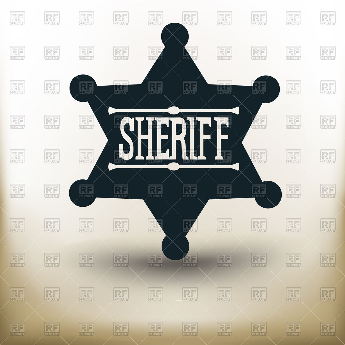 1200x1200 Sheriff Star Badge On Beige Background Vector Image Vector