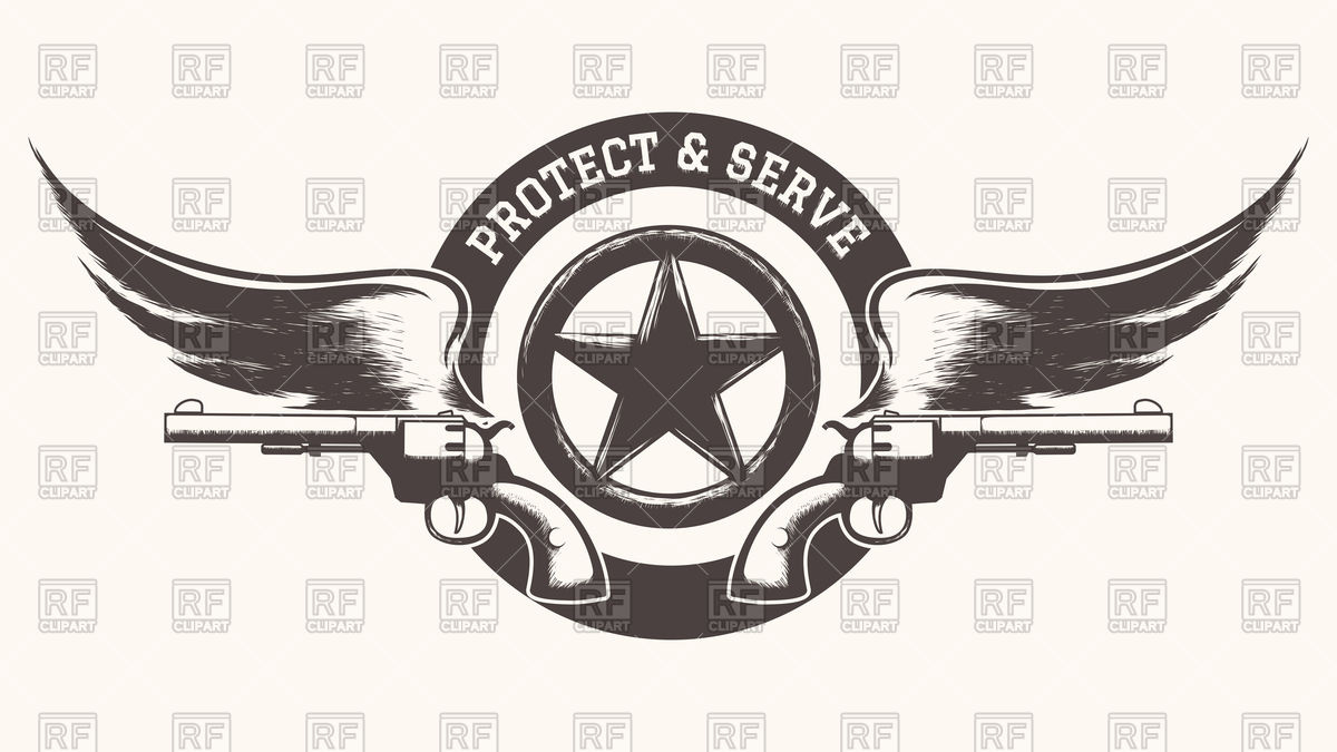 1200x675 Two Guns With Wings And Star Badge Vector Image Vector Artwork
