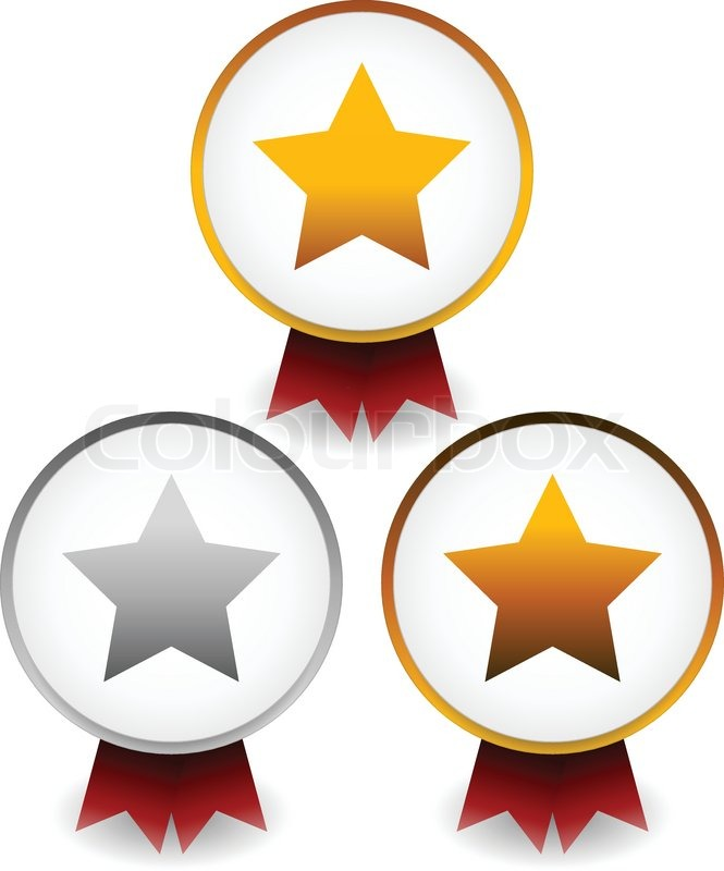 665x800 Vector Illustration Of Golden, Silver, Bronze Star Badges With
