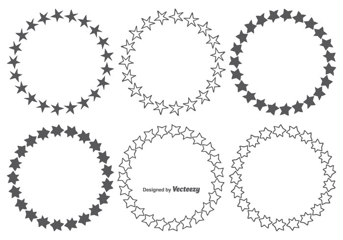 700x490 Hand Drawn Star Frames Set