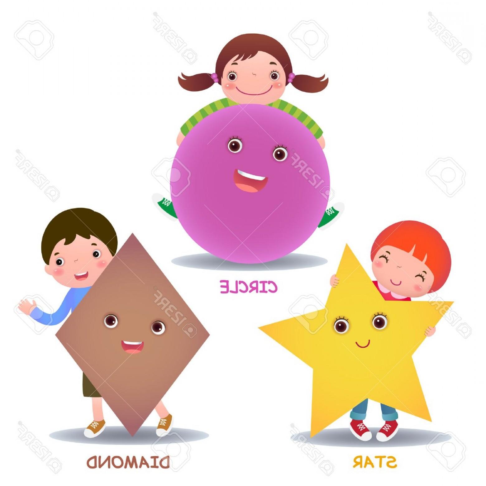 1560x1560 Photostock Vector Cute Little Cartoon Kids With Basic Shapes Star