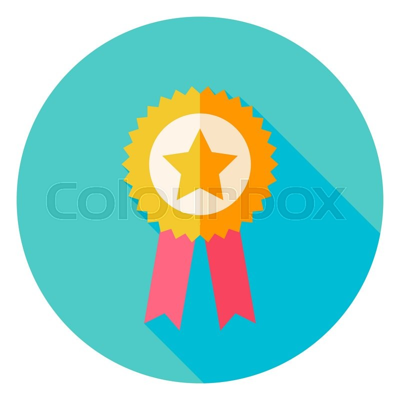 800x800 Award Gold Medal With Star Circle Icon. Flat Design Vector