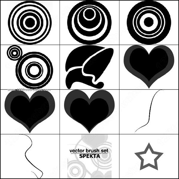598x598 Star Circle Heart Shape Brushes Photoshop Download Photoshop