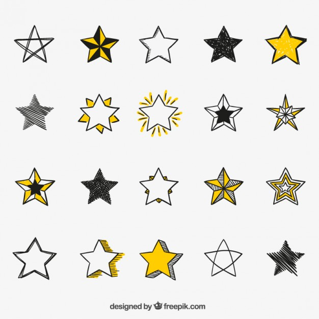 626x626 Hand Drawn Stars Icons Vector Free Download