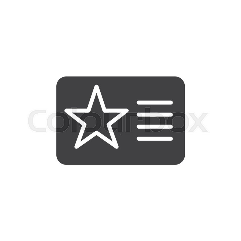 800x800 Membership Card With Star Icon Vector, Filled Flat Sign, Solid