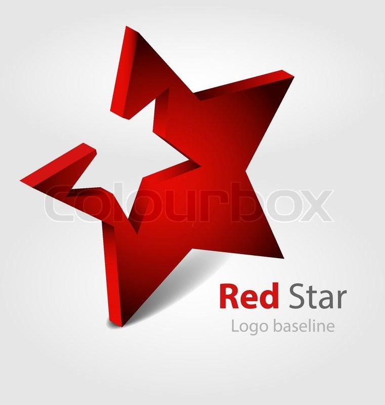 761x800 Red Star 3d Vector Logo Stock Vector Colourbox