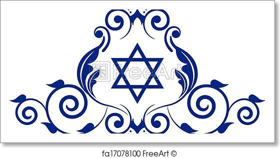 560x316 Free Art Print Of Floral Icon With Star Of David. Vector Floral