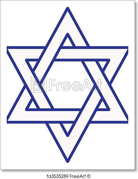 450x580 Free Art Print Of Star Of David. Vector Of The Outline Of A Star