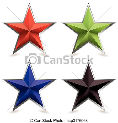 450x470 Metal Bevel Star Shape. Four Star Shaped Icons With Silver Metal