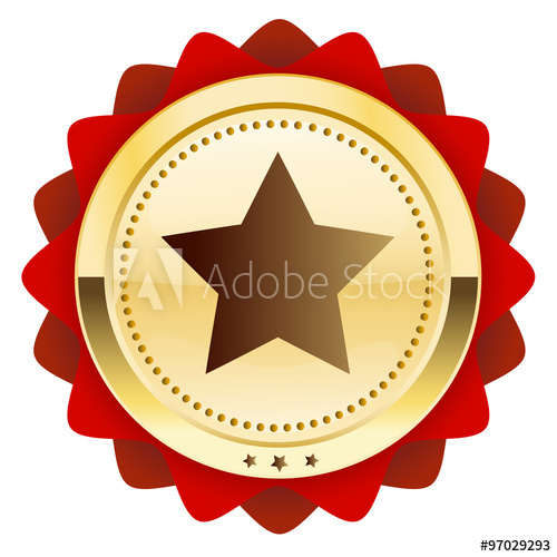 500x500 Finest Quality Seal Or Icon With Star Symbol. Glossy Golden Seal