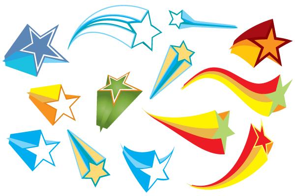 600x400 Free Colorful 3d Stars Vector Elements Free Vectors