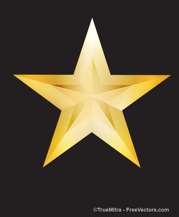 600x729 Download Free Retro Golden Star Vector Illustration