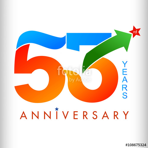 500x500 Template Logo 53rd Anniversary Color With Star, Vector Illustrator
