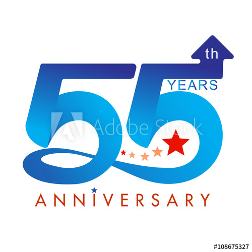 500x500 Template Logo 55th Anniversary Color With Star, Vector Illustrator
