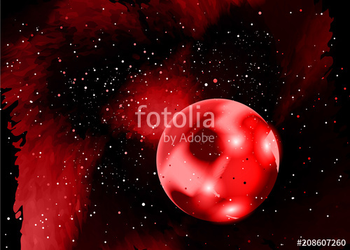 500x357 One Red Planet In Deep Space. Star Field In Space And A Nebulae