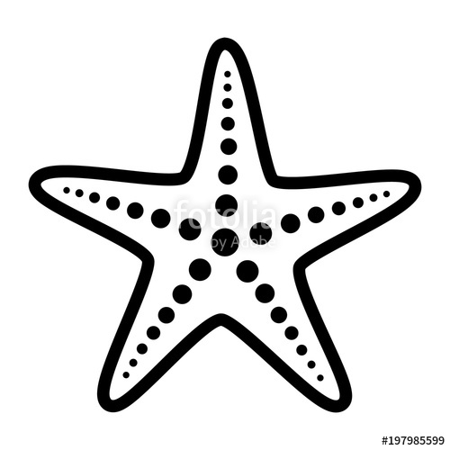500x500 Common Starfish Or Sea Star Fish Marine Life Line Art Vector Icon