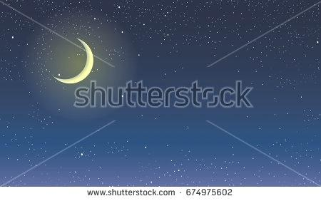 450x282 Crescent Moon Light Night Sky With Moon And Beautiful Starry Sky