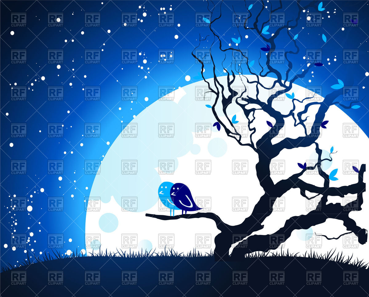 1200x966 Dry Leafless Tree In Front Of Moon And Night Starry Sky Vector