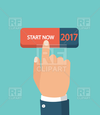 346x400 Hand Pushing Start Button Vector Image Vector Artwork Of