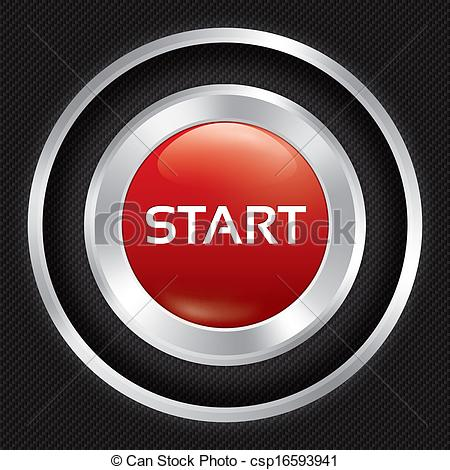 450x470 Start Button On Carbon Fiber Background. Vector Realistic Metallic