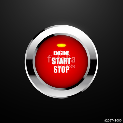 500x500 Engine Start Button. Vector Illustration Stock Image And Royalty