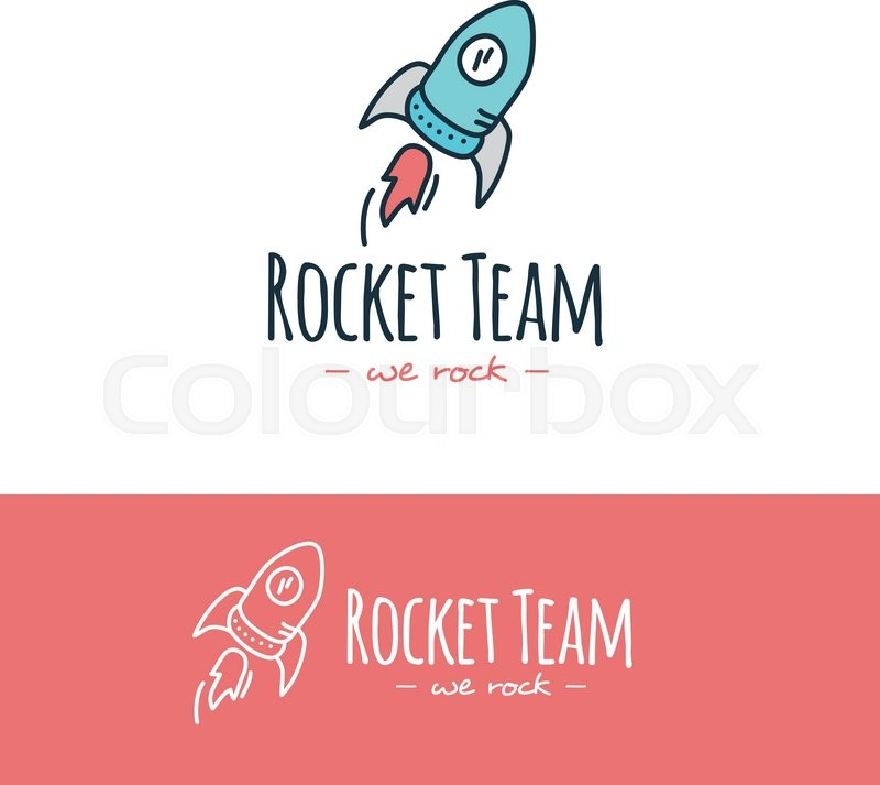 800x713 Vector Funny Cartoon Style Rocket Logo. Hand Drawn Doodle Start Up