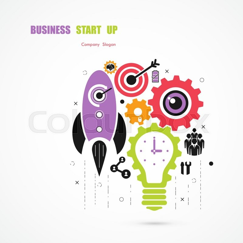 800x800 Business Start Up Icon Concept.light Bulb Icon And Gear Abstract