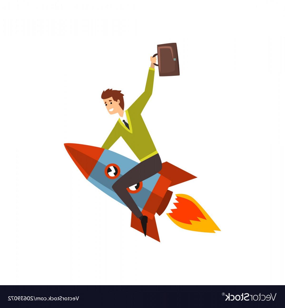 1198x1296 Businessman On A Rocket Successful Start Up Vector Shopatcloth