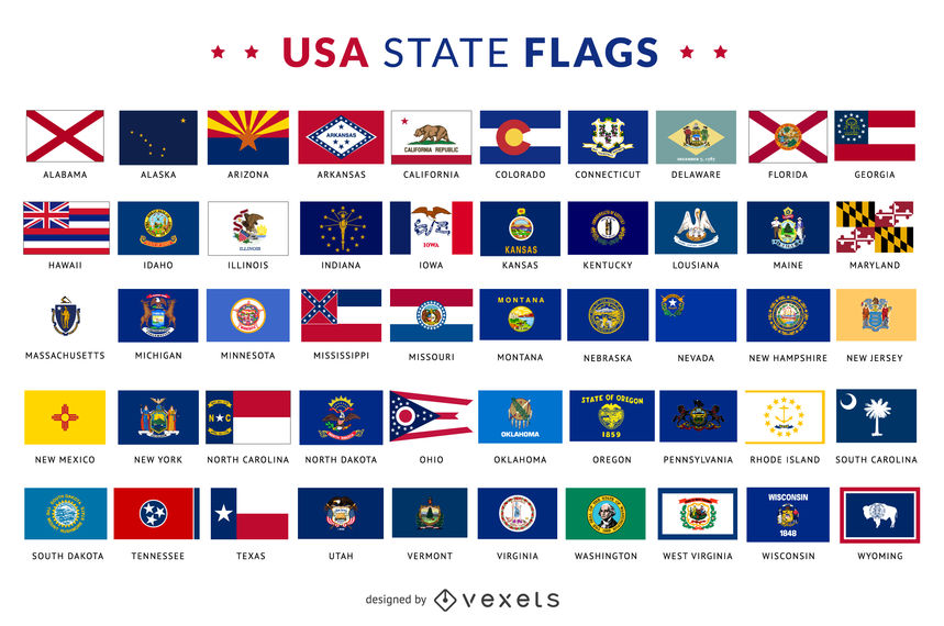 859x570 Usa State Flags Collection
