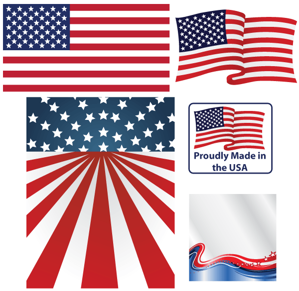 600x585 United States Flag Labels Free Vector 123freevectors