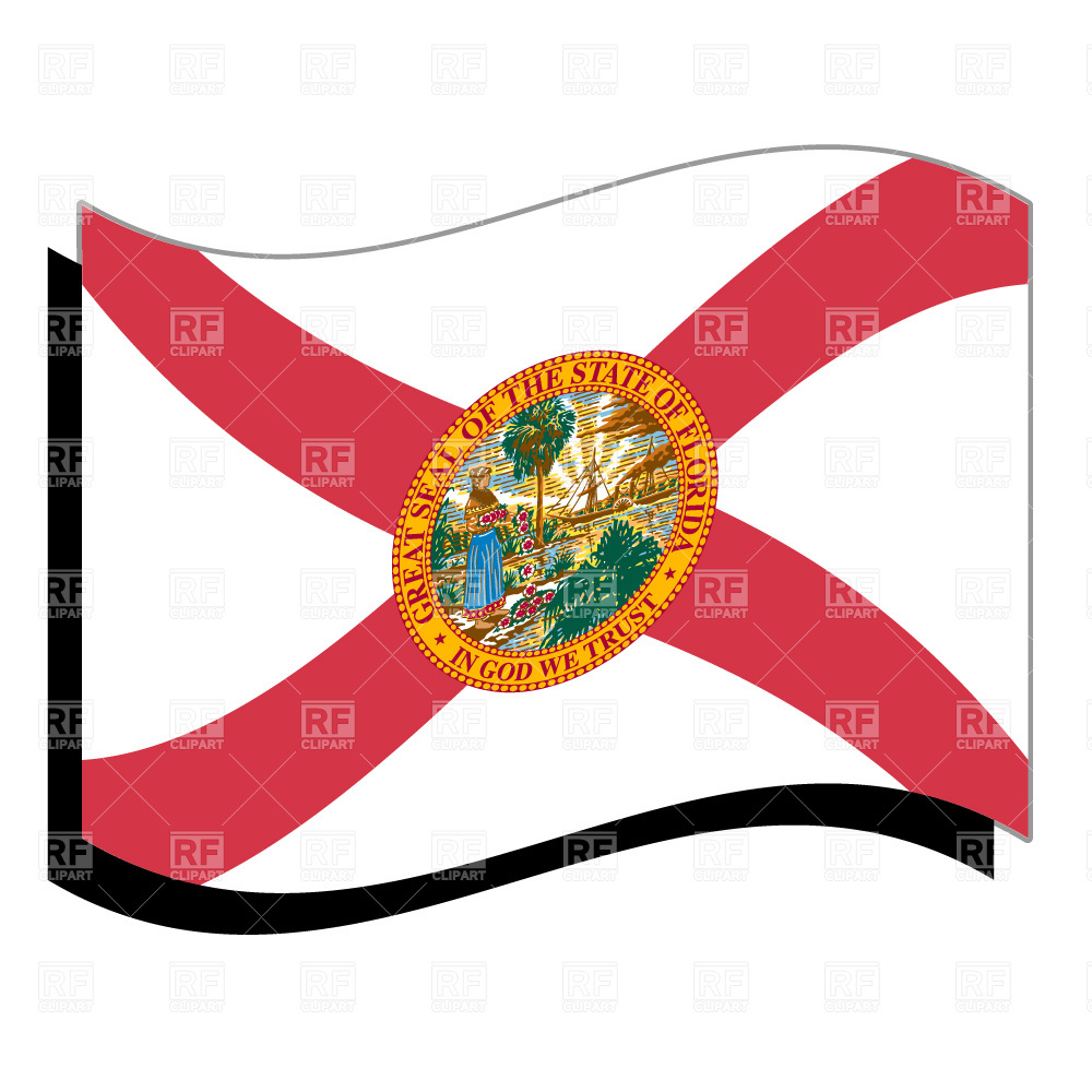 1000x1000 Wavy Florida State Flag And Outline Vector Image Vector Artwork