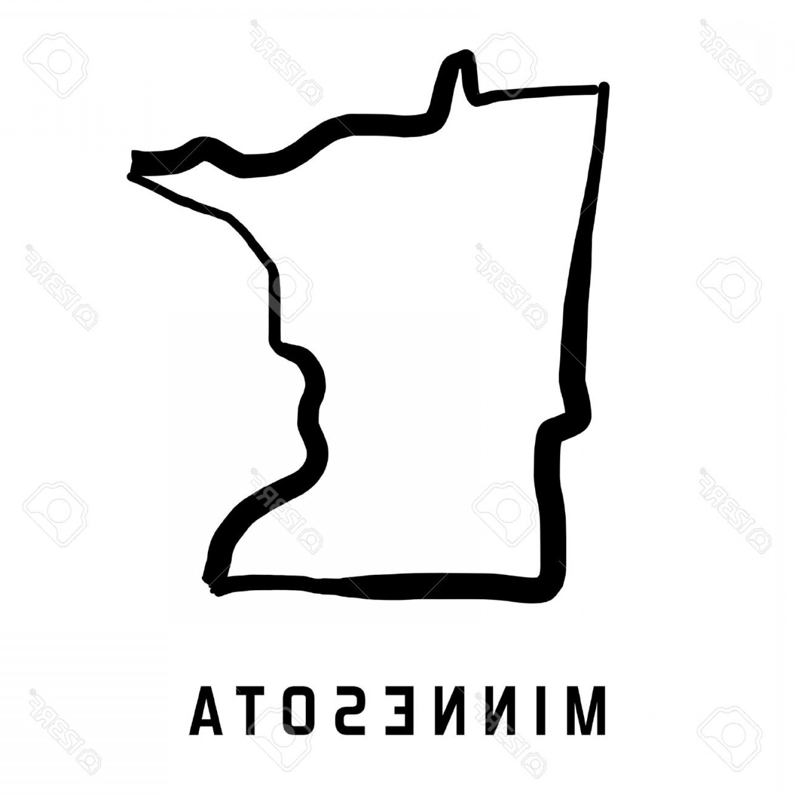 1560x1560 Photostock Vector Minnesota State Map Outline Smooth Simplified Us