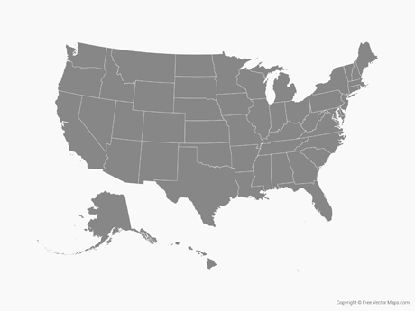460x345 Vector Map Of United States Of America With States