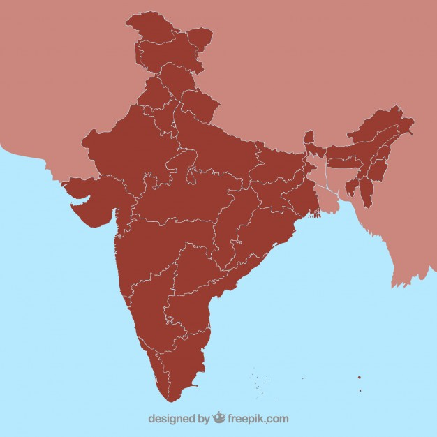 626x626 India State Map Outline Vector Free Download